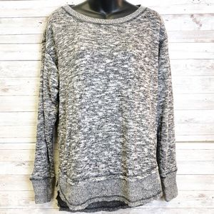 KNOX ROSE Gray Soft Fur Knit Long Sleeve Sweater